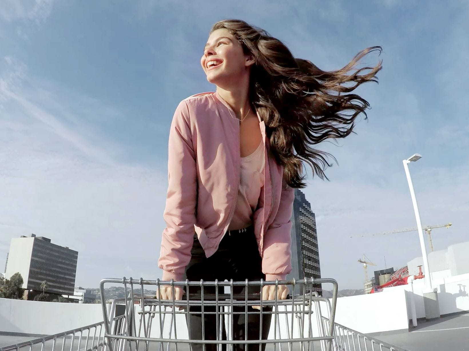 lady with long hair blowing in the wind