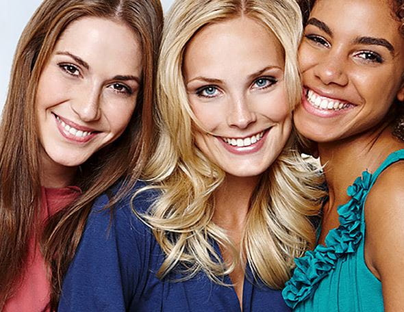 three women with different skin types
