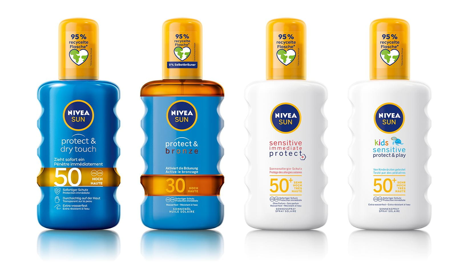 Protect & Dry Touch Spray LSF 50, Protect & Bronze Sonnenöl LSF 30, Sensitive Immediate Protect LSF 50+, Kids Protect & Sensitive LSF 50+