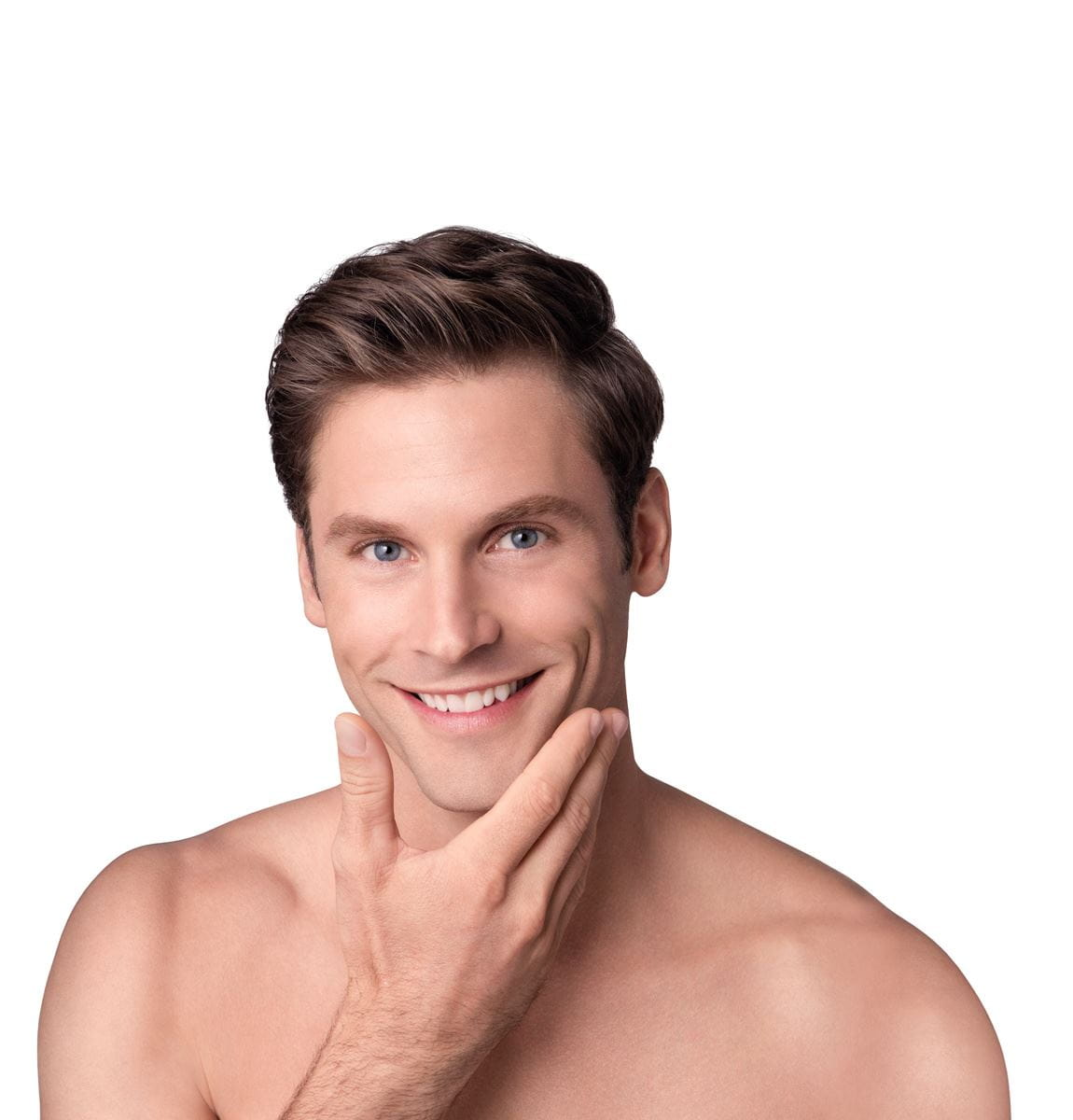 man with clear unclogged nose pores